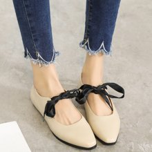 MIJI红人联名平底单鞋女新款韩版百搭尖头绑带玛丽珍鞋浅口平跟SH5126