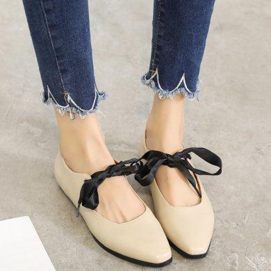MIJI紅人聯名平底單鞋女新款韓版百搭尖頭綁帶瑪麗珍鞋淺口平跟SH5126
