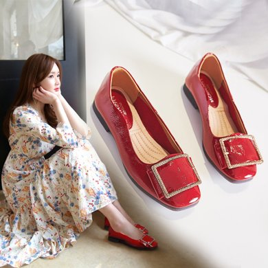 浅口奶奶鞋女新款韩版百搭复古一脚蹬懒人鞋平底粗跟单鞋LP707-3