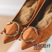 如熙秋季新款單鞋棉鞋加絨女鞋中跟尖頭淺口鞋子毛毛鞋高跟鞋183QDSJ3230