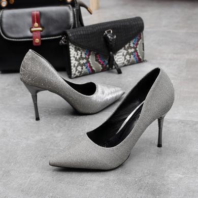 MIJI高跟鞋女新品韩版浅口细跟性感尖头单鞋职业工作女鞋AI8-12077