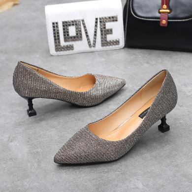 MIJI高跟鞋女新款時尚韓版尖頭貓跟鞋淺口性感細跟中跟單鞋潮AI8-12079