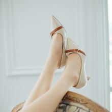 如熙绑带单鞋女温柔风秋季新款猫跟尖头浅口高跟百搭韩版女鞋182CDQS4397
