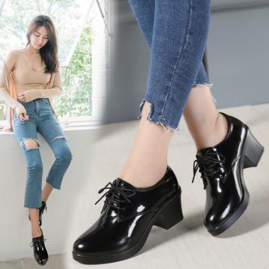 单鞋女中跟真皮秋季新品英伦风粗跟女鞋休?#34892;?#21402;底学生鞋高跟鞋圆AG136