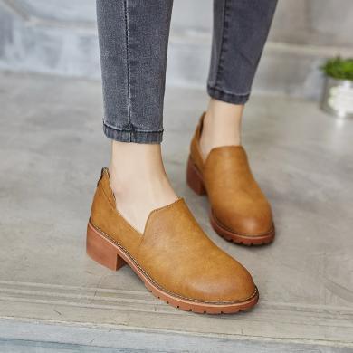 潮牌秋新款英倫風平底鞋女平跟單鞋復古小皮鞋深口鞋一腳蹬女鞋YP1810