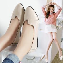 MIJI女鞋真皮浅口平底妈妈鞋女单鞋韩版尖头软底奶奶鞋孕妇休闲鞋LC1186