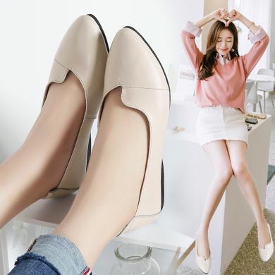 MIJI女鞋真皮淺口平底媽媽鞋女單鞋韓版尖頭軟底奶奶鞋孕婦休閑鞋LC1186