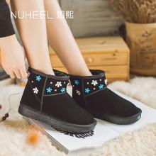 如熙秋冬季雪地靴新款女靴子真牛皮加絨女棉靴短靴短筒女鞋184DXJN0671