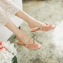 如熙新款拖鞋女時尚平底外穿穆勒鞋涼鞋女包頭平底單鞋女182XLSH3598
