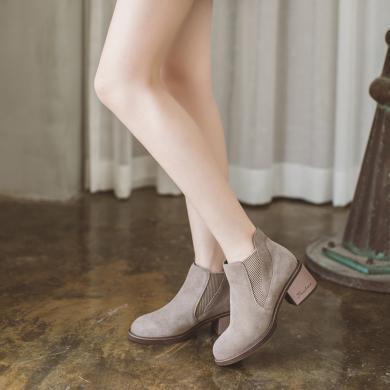 如熙秋冬新款短靴切爾西靴踝靴真牛皮高跟鞋圓頭高跟靴粗跟鞋183DXGN2957