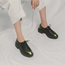 青婉田漆皮英伦单鞋女粗跟布洛克厚底鞋女新款秋季绑带松糕鞋S18QD0934