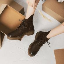 青婉田ins马丁靴女新款短筒个性机车工装靴女英伦短靴女粗跟S18DX0890