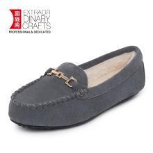 路施南 冬季新款韓版百搭棉鞋女一腳蹬毛毛鞋加絨保暖女士豆豆鞋孕婦鞋
