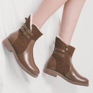 青婉田羊皮毛一体雪地靴女新款英伦短靴女靴棉靴女冬真皮加绒Y18DX1139