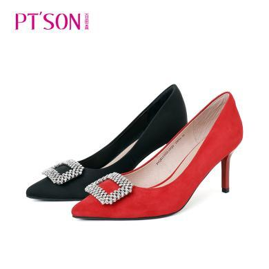 百田森PYQ9A001新款精美水鉆裝飾尖頭女單鞋細跟高跟鞋