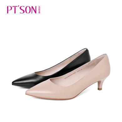 百田森PYQ19040新款猫跟纯色尖头女单鞋舒适羊皮浅口女鞋