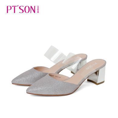 百田森PYQ19211新款格利特后空女單鞋粗跟高跟女鞋
