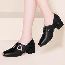 古奇天伦春季新款皮鞋方头中跟粗跟单鞋百搭舒适高跟鞋9182-1