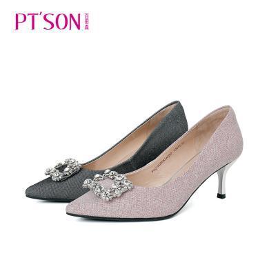 百田森PYQ19028新款闪钻方扣装饰靓丽格利特女单鞋高跟鞋