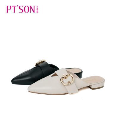 百田森PYQ19227新款尖頭平根低跟甜美外穿后空女鞋休閑鞋