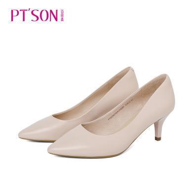 百田森PYQ19039新款職業女性淺口單鞋尖頭高跟細跟羊皮女鞋