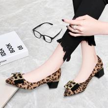 古奇天伦 2019春季新款单鞋尖头粗跟低帮鞋女鞋套脚单鞋豹纹防女鞋子 TL/9264