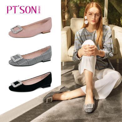 百田森PYQ19042新款舒适水钻方扣优雅低跟方跟方头浅口女鞋