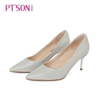 百田森PYQ19013新款性感尖頭細跟女單鞋職業女性女鞋