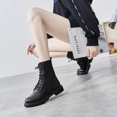新款歐美飛織拼接中筒女靴系帶圓頭系帶馬丁靴女靴FYD587-B
