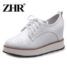 ZHR春季新款英伦风厚底松糕鞋平跟休闲鞋内增高单鞋真皮女鞋