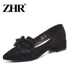 ZHR新款韩版粗跟复古浅口单鞋chic尖头中跟休闲鞋蝴蝶结女鞋