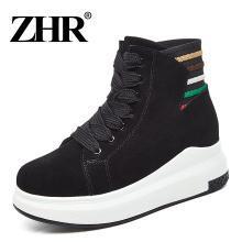 ZHR春季新款短靴女松糕鞋网红棉鞋休闲鞋马丁靴厚底高帮鞋潮