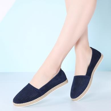 MIJI女鞋春季新款真皮女單鞋套腳休閑鞋平底鞋輕便透氣懶人鞋AG7023