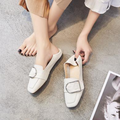 搭歌2019春季新款平底方扣懒人女单鞋MB7099