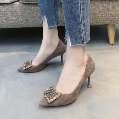 搭歌2019春季新款水鉆尖頭鞋淺口宴會細跟高跟鞋女MB196