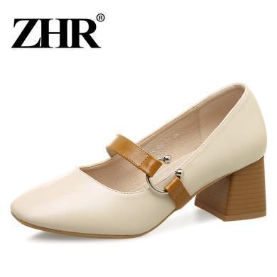 ZHR春季新款淺口單鞋粗跟瑪麗珍鞋韓版高跟鞋奶奶鞋百搭女鞋