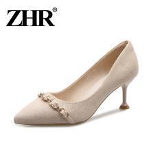 ZHR裸色高跟鞋女细跟少女黑色单鞋春季新款猫跟鞋宴会百搭女鞋子