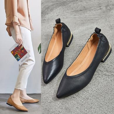 搭歌2019春季新款黑色工作休閑套腳透氣百搭低跟女鞋MB1009