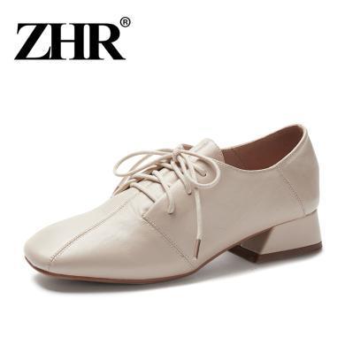 ZHR春季新款英倫風小皮鞋粗跟單鞋百搭休閑鞋學院風女鞋子潮