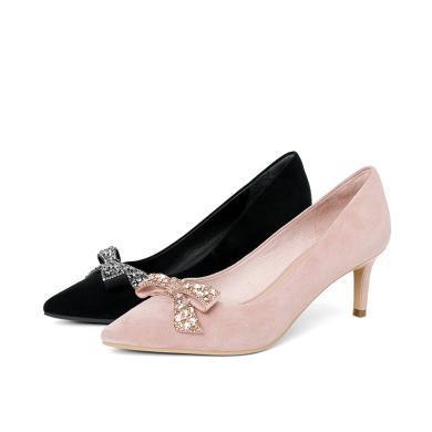百田森PYQ9A002新款時尚精美水鉆裝飾尖頭女單鞋細跟高跟鞋