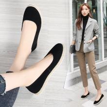 MIJI女鞋春季新款休闲鞋真皮女单鞋套脚平底鞋轻便懒人鞋AG7022