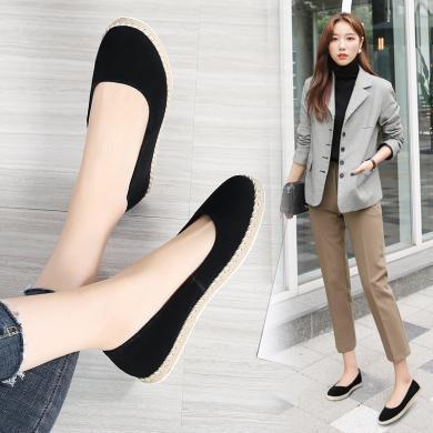 MIJI女鞋春季新款休閑鞋真皮女單鞋套腳平底鞋輕便懶人鞋AG7022