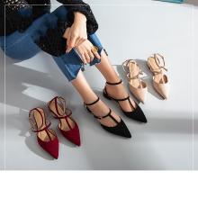 2019新款夏季凉鞋女仙女风平底鞋绑带尖头鞋百搭网红单鞋女一字带HG19SP341XT523