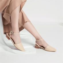 青婉田真皮包头凉鞋女仙女风夏季女鞋新款尖头绑带单鞋女平底Y19XL1173