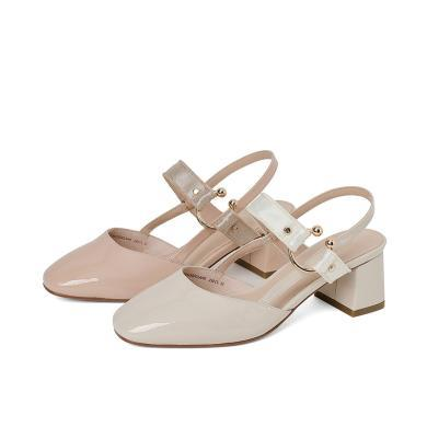百田森春季女鞋新款方头一字扣高跟鞋女粗跟漆皮中空包头凉鞋FYQ9A190