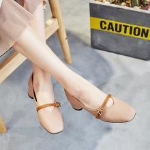 新款韩版中跟粗跟单鞋女百搭方头一字扣奶奶鞋浅口玛丽珍鞋女LP-K083