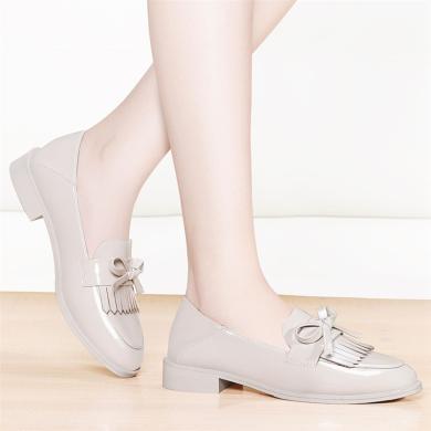 金絲兔豆豆鞋女新款韓版百搭流蘇平底單鞋英倫風小皮鞋一腳蹬樂福鞋