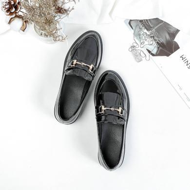 潮牌2019春季新款女鞋休閑鞋亮面小皮鞋平底套腳樂福鞋GT715-9