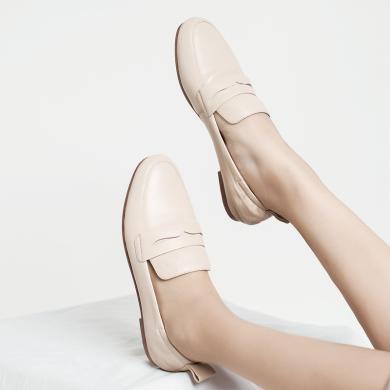 青婉田樂福鞋女新款春季單鞋女平底一腳蹬懶人套腳羊皮蛋卷鞋Y19CD1171