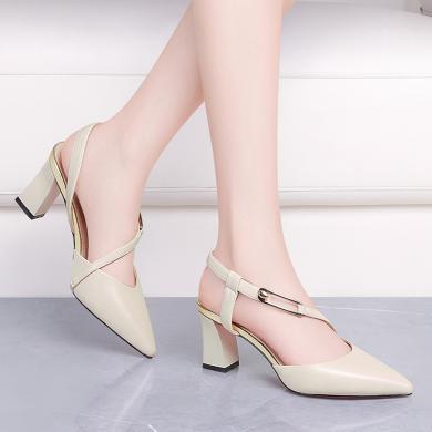 古奇天倫2019夏季新款高跟鞋包頭尖頭粗跟涼鞋一字式扣帶休閑百搭女鞋9385